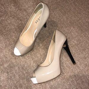 Nude open toe platform heels from GUESS!